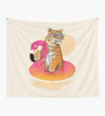 Chillin, Flamingo Tiger Wall Tapestry