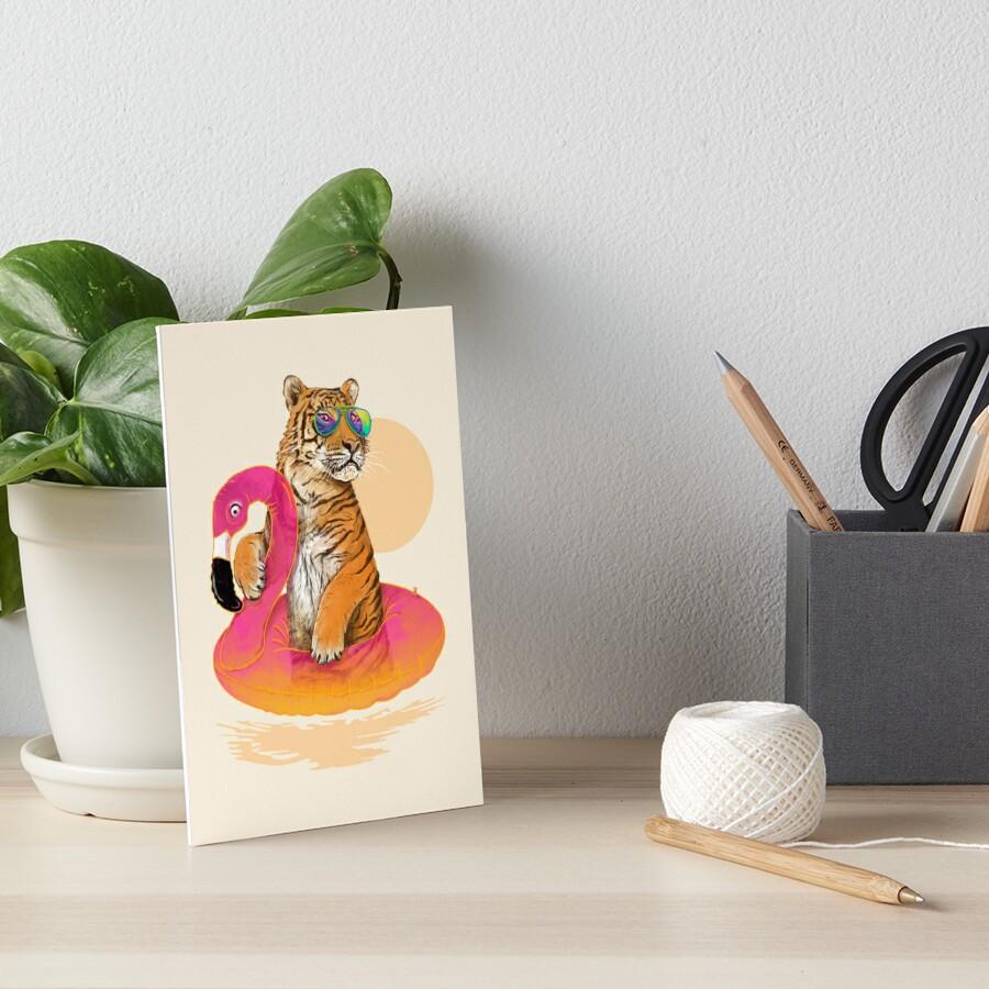 Chillin, Flamingo Tiger Art Board Print