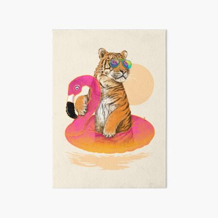 Chillin, Flamingo Tiger Art Board Print