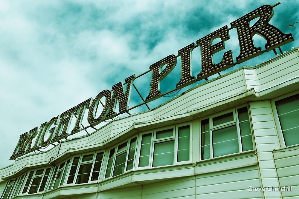 Brighton Pier Sign by Steve Churchill