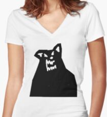 Russ Diemon - There's Really A Wolf Album Cover [BLACK] Women's Fitted V-Neck T-Shirt