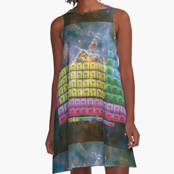 118 Element Color Periodic Table - Stars and Nebula A-Line Dress