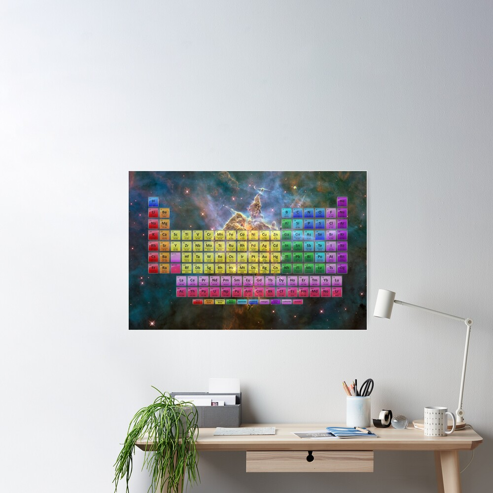 118 Element Color Periodic Table - Stars and Nebula Poster