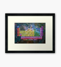 118 Element Color Periodic Table - Sterne und Nebel Gerahmtes Wandbild