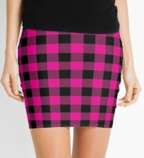 Bright Hot Pink and Black Lumberjack Buffalo Plaid Fabric Mini Skirt
