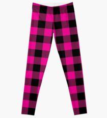 Classic Fuchsia and Black Lumberjack Buffalo Plaid Fabric Leggings