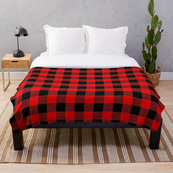 Classic Dark Red and Black Lumberjack Buffalo Plaid Fabric Throw Blanket
