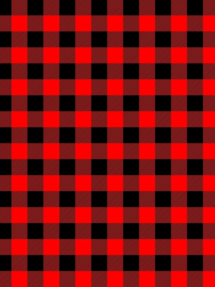 Classic Dark Red and Black Lumberjack Buffalo Plaid Fabric by podartist