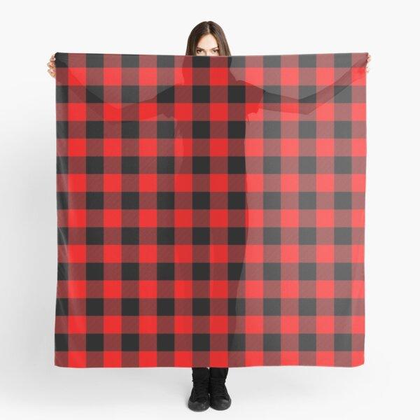 Classic Dark Red and Black Lumberjack Buffalo Plaid Fabric Scarf