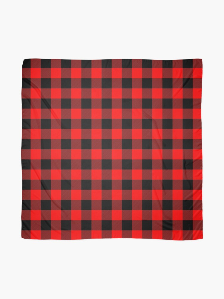 Alternate view of Classic Dark Red and Black Lumberjack Buffalo Plaid Fabric Scarf