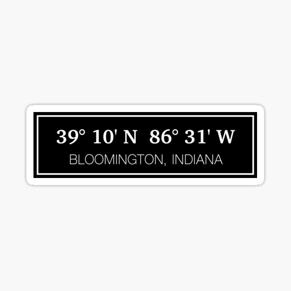 Bloomington, IN Black Block Coordinates Sticker Sticker