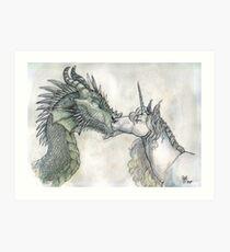 Dragon and Unicorn Art Print