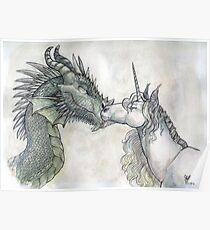 Dragon and Unicorn Poster