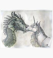 Dragon and Unicorn Poster
