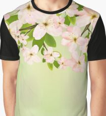 Cherry Blossoms on Green Graphic T-Shirt