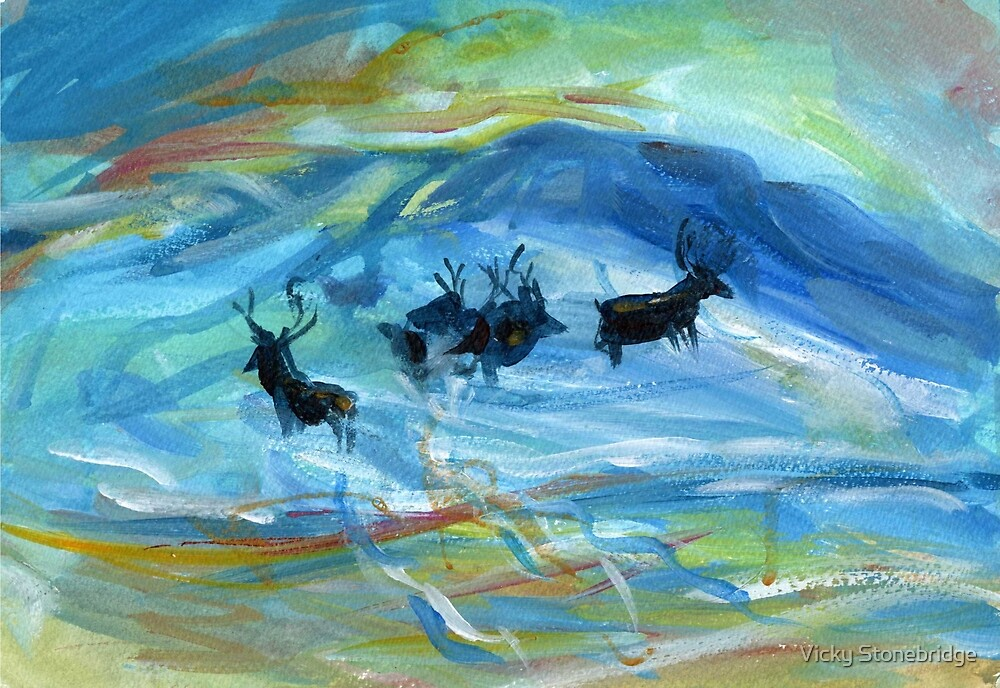 Stags in the winter snow by Vicky Stonebridge