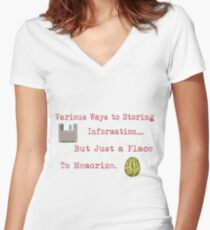 Various ways of storing information but just a place to memorize. Women's Fitted V-Neck T-Shirt
