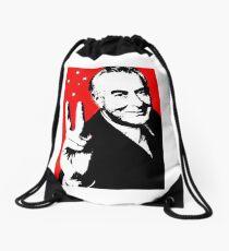 Gough instead of che, white on red Drawstring Bag