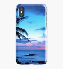Tropical Island Pretty Pink Blue Sunset Landscape iPhone Case