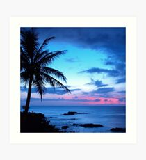 Lámina artística Tropical Island Pretty Pink Blue Sunset Paisaje
