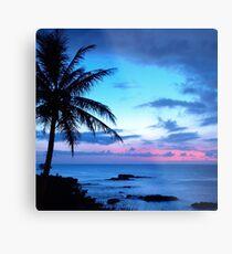 Tropische Insel-hübsche rosa blaue Sonnenuntergang-Landschaft Metalldruck