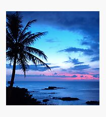 Tropical Island Pretty Pink Blue Sunset Landscape Photographic Print