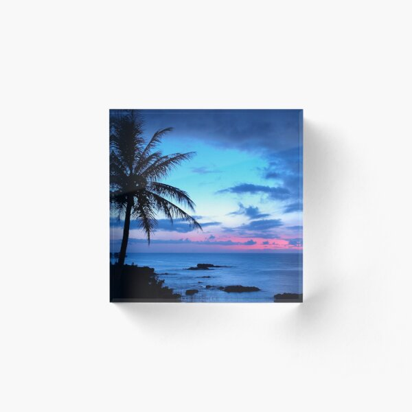 Tropical Island Pretty Pink Blue Sunset Landscape Acrylic Block
