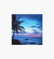 Lámina rígida Tropical Island Pretty Pink Blue Sunset Paisaje
