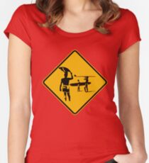 Caution sign. The endless summer surfing design. Women's Fitted Scoop T-Shirt