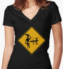Caution sign. The endless summer surfing design. Women's Fitted V-Neck T-Shirt