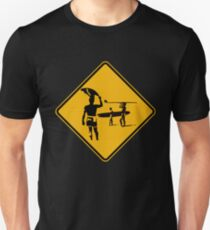 Caution sign. The endless summer surfing design. Unisex T-Shirt