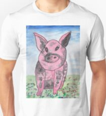 Pink and Black pig Unisex T-Shirt