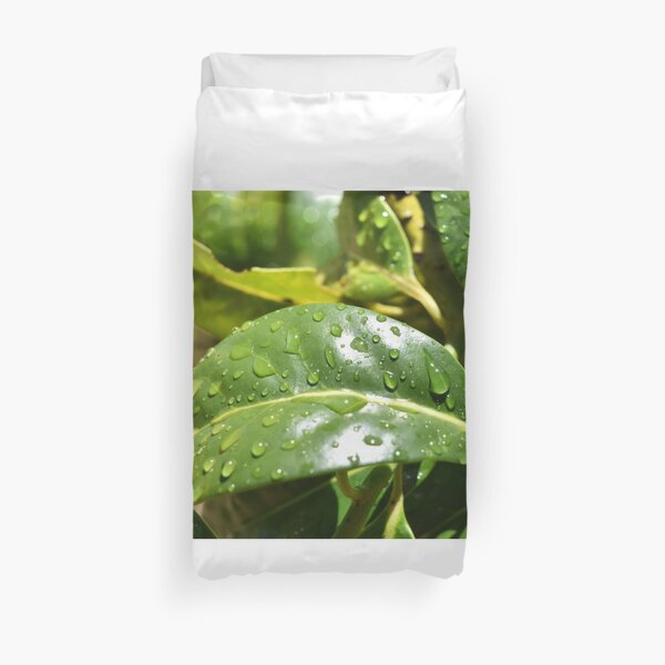Water Droplets on Leaves Duvet Cover