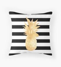 Gold Pineapple Black and White Stripes Throw Pillow
