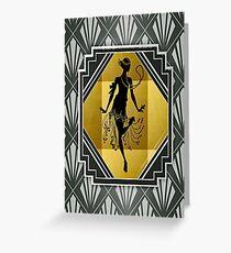 Art Deco Flapper Roaring 20's Gatsby Style Print Greeting Card