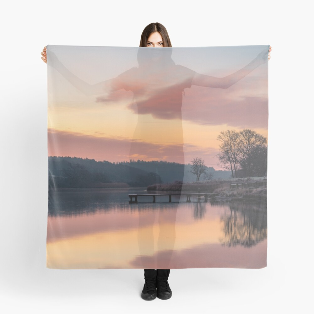 Dawn At The Old Millpond Scarf