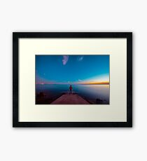 Sunset at the sea, Trieste Framed Print