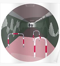 0104 Bicycle slow through tunnel - circle Poster