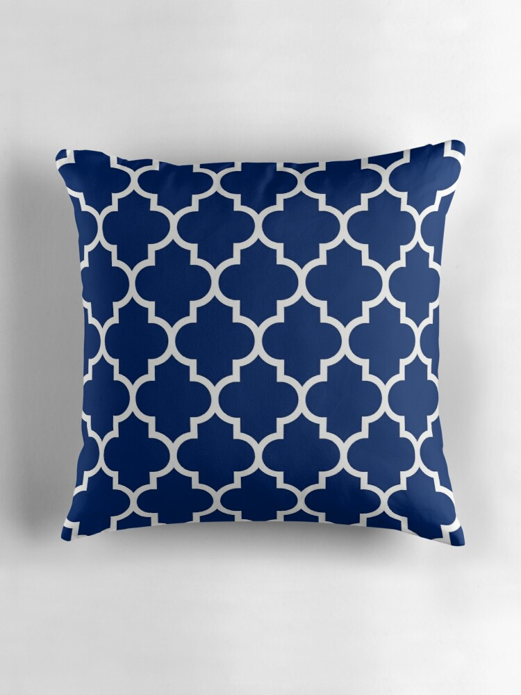 Royal blue white quatrefoil throw pillows by rewstudio for Royal blue couch pillows