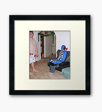 Car Seatcover Man Framed Print