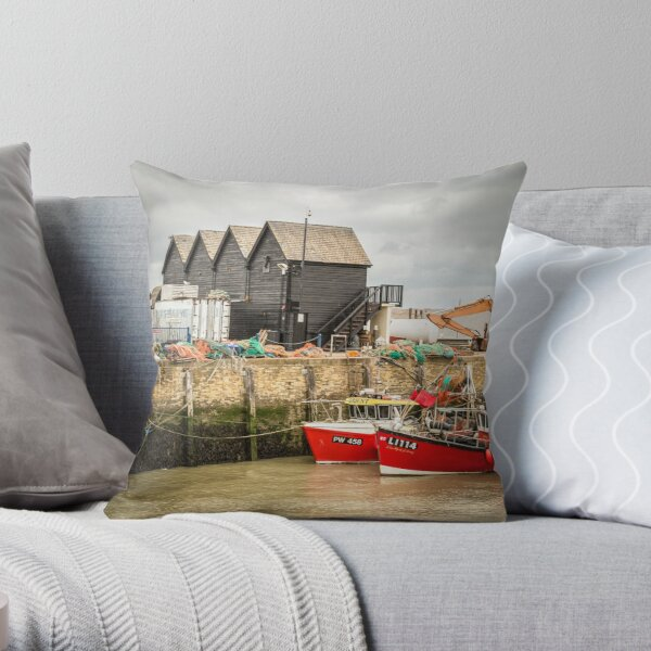 Whistable Harbour  Kent UK Throw Pillow