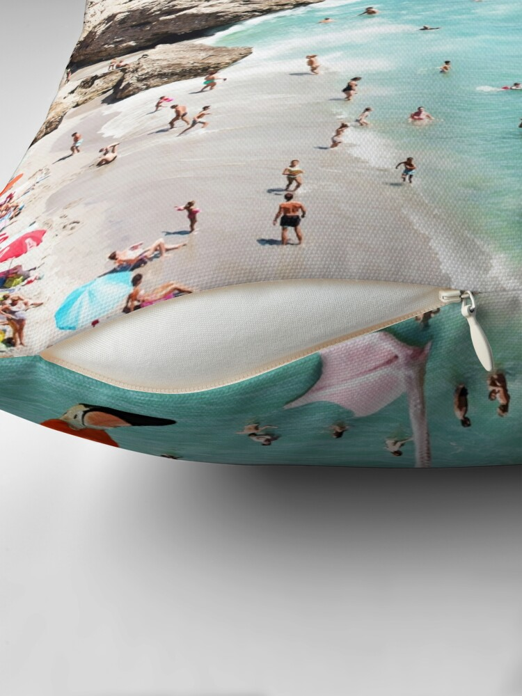 Alternate view of Flamingos on the Beach #redbubble #decor Throw Pillow