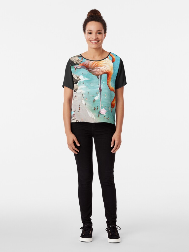 Alternate view of Flamingos on the Beach #redbubble #decor Chiffon Top