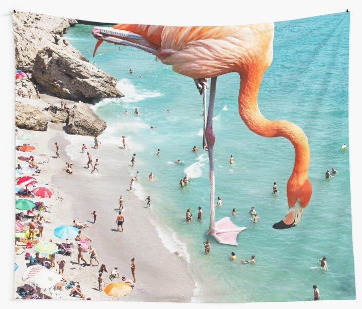 Flamingos on the Beach #redbubble #decor by 83oranges