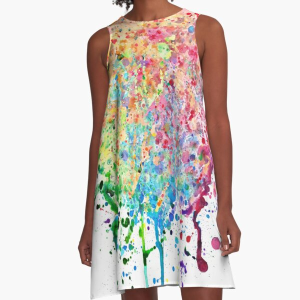 Rainbow Paint Splatter Drip A-Line Dress