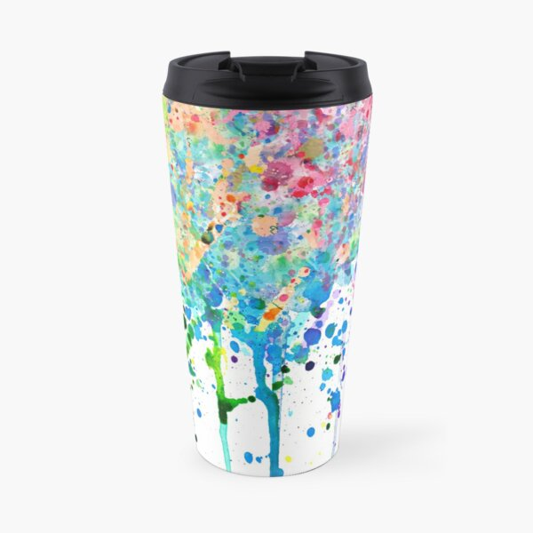 Rainbow Paint Splatter Drip Travel Mug