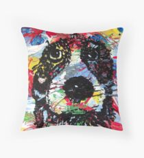 colorful  dog - Hund farbenfroh - dicke Fellnase - nass geworden - not amused Throw Pillow