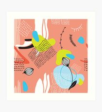 Hand drawn abstract floral pattern Modern cool design Art Print