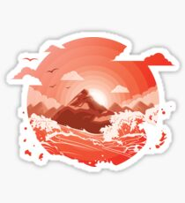 Red Sunset over Mountain Sticker