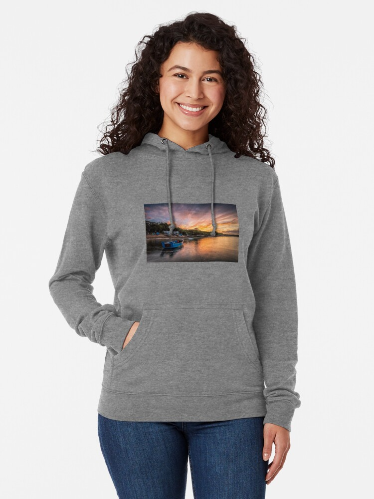 Alternate view of Woodside Bay Boat Sunset Lightweight Hoodie